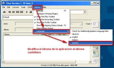 CDex, idioma español