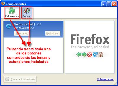 Comprobar extensiones y temas instalados en Firefox