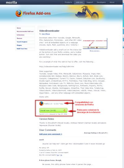 VideoDownloader, extensión Firefox