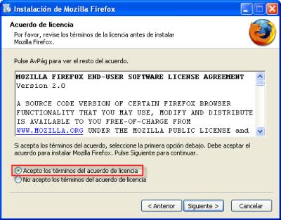Firefox, instalación