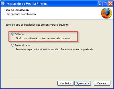 Firefox, instalación estándar