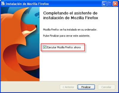 Firefox, fin del asistente de instalación