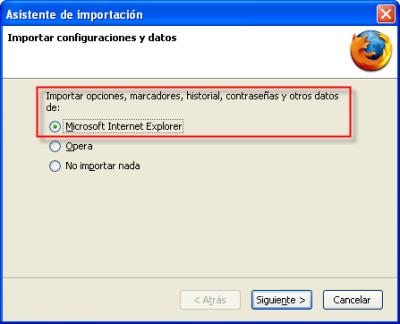 Firefox, asistente de importación