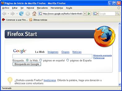 Interfaz por defecto de Firefox 2.0