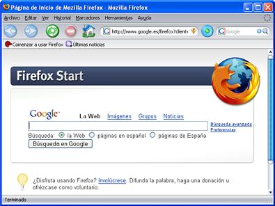 Interfaz de Firefox 2.0 con el tema Noia activado
